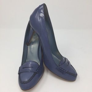 Periwinkle blue leather loafer stiletto pump